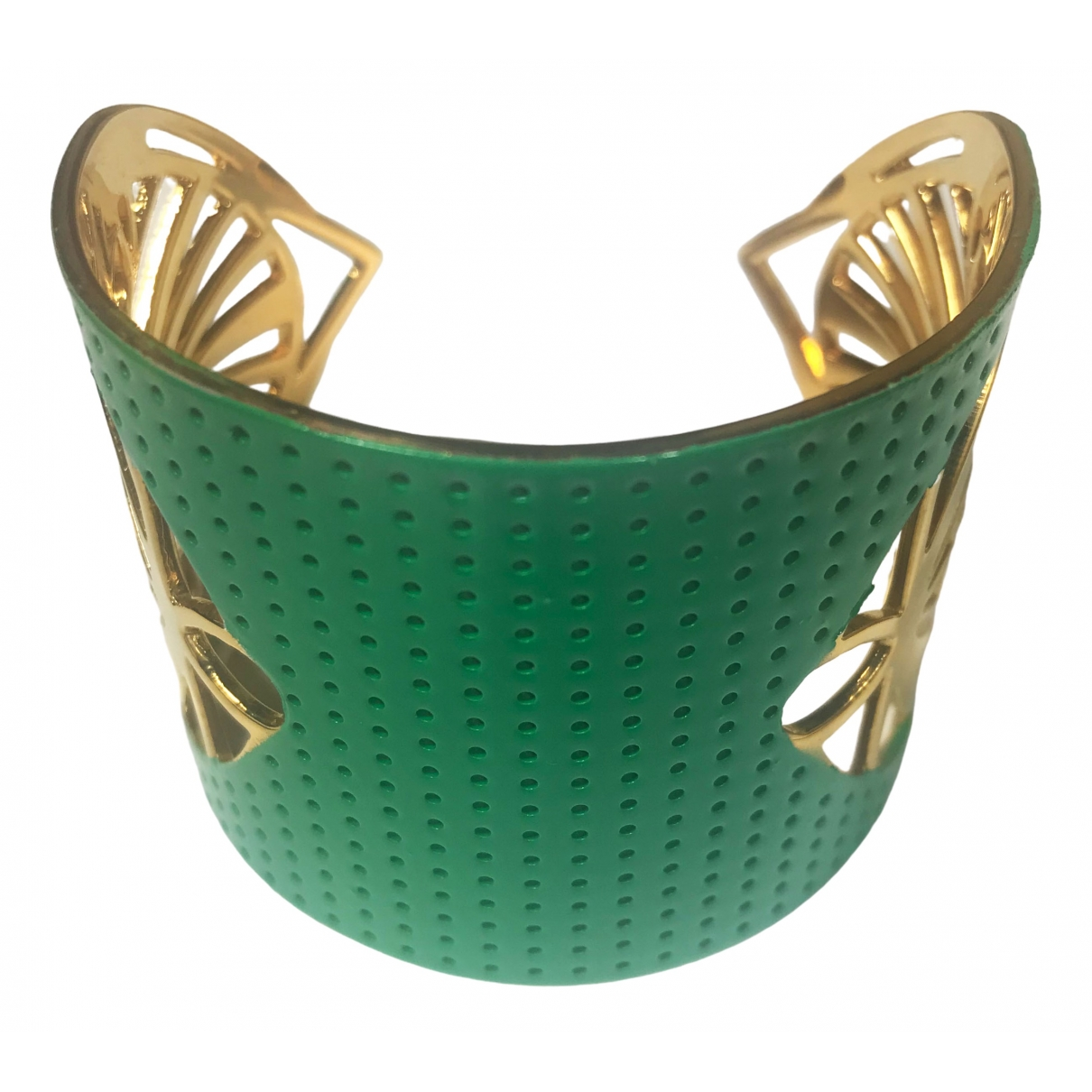 Non Signé / Unsigned Manchette Green Gold plated bracelet for Women \N