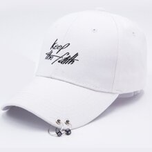 Men Ring Detail & Letter Embroidery Baseball Cap