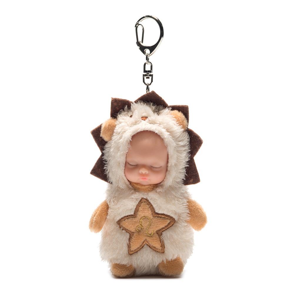 10CM 12 constellations Kawaii Keychain Sleeping Baby Doll Key Chain Rings For Women Bag Accessories Car Keyring-Leo