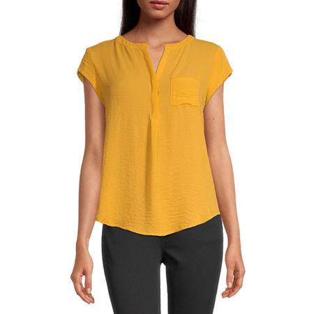 Liz Claiborne Cap Sleeve Popover - Plus, Medium , Yellow