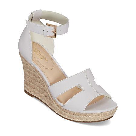 Liz Claiborne Womens Maderia Wedge Sandals, 10 Medium, White