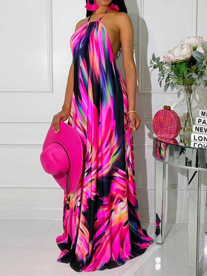 Ericdress Lace-Up Floor-Length Sleeveless Halter Floral Dress