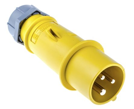 MENNEKES , AM-TOP IP44 Yellow Cable Mount 3P Industrial Power Plug, Rated At 16.0A, 110.0 V