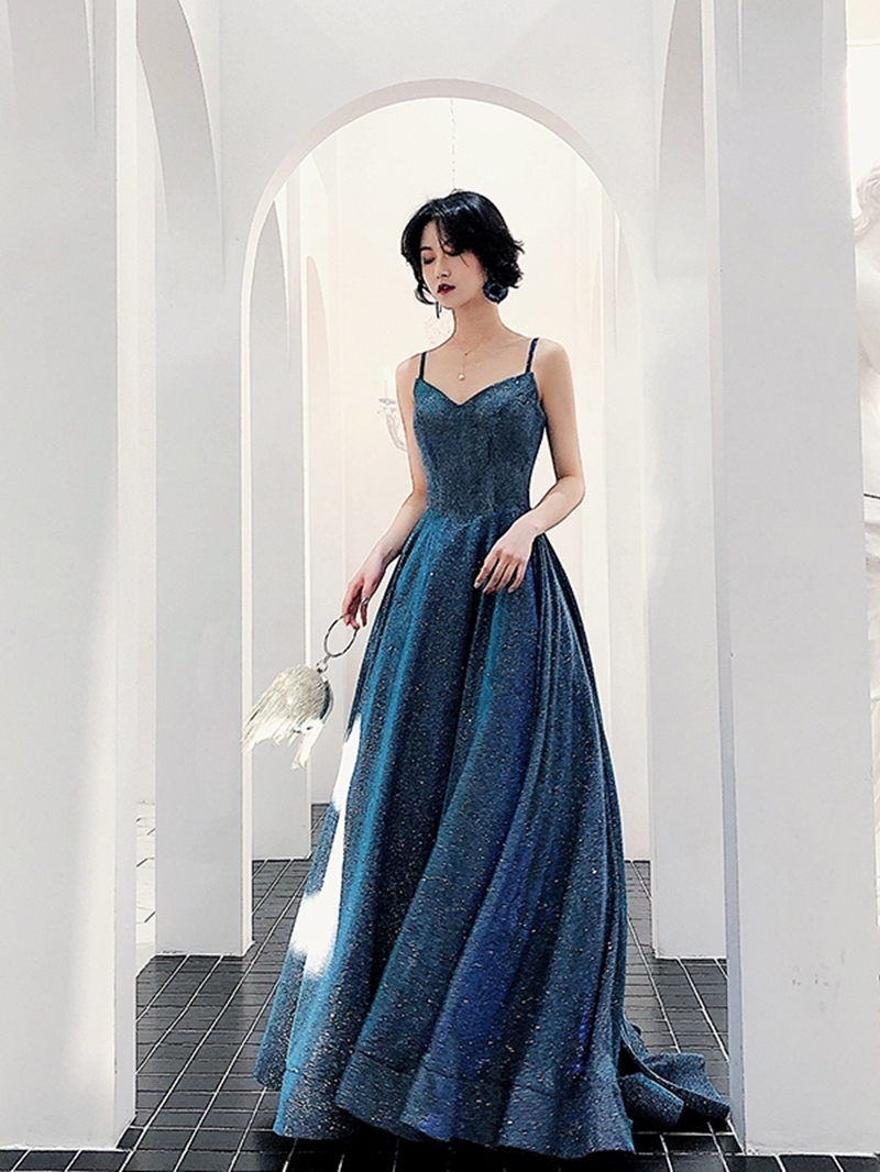 Ericdress A-Line Floor-Length Spaghetti Straps Evening Dress 2020