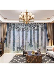 3D Nordic Style Elks and Towering Trees Printed 2 Panels Custom Sheer
