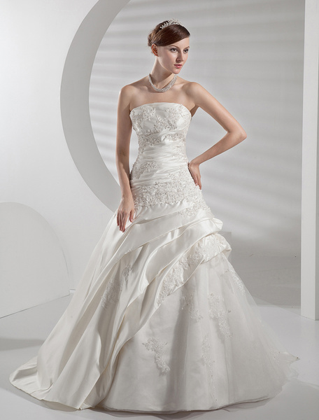Milanoo Wedding Dresses Satin Strapless Bridal Gown Lace Applique Side Draped Beading Ivory Bridal Dress With Train