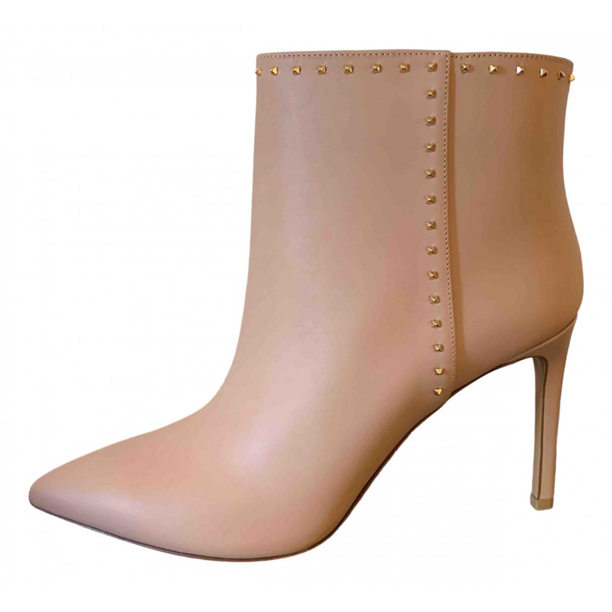 Valentino Garavani Rockstud Beige Leather Ankle boots for Women 39 EU