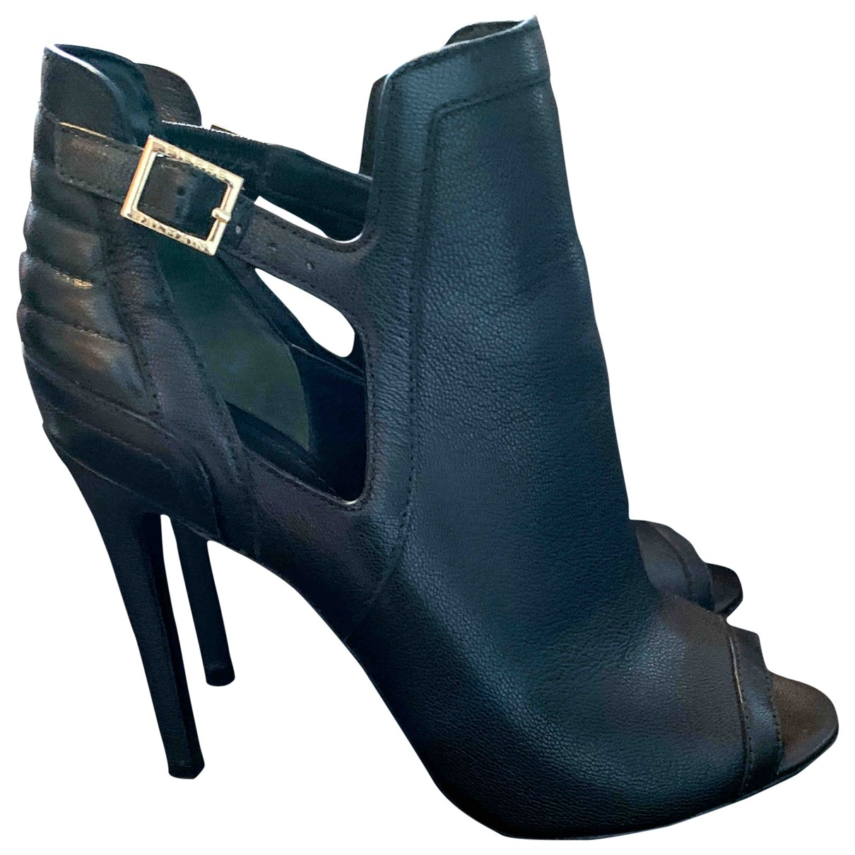 Pierre Balmain \N Black Leather Ankle boots for Women 37 EU