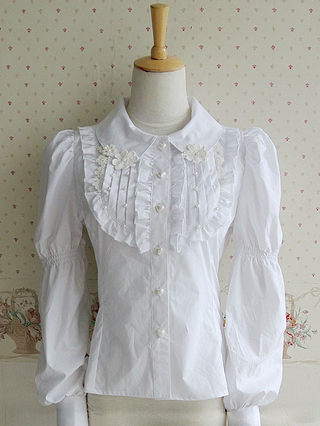 Milanoo White Ruffled Lolita Blouse Classic long sleeve pleated shirt