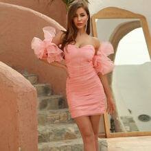 DKRX Exaggerated Ruffle Sleeve Ruched Bodycon Dress