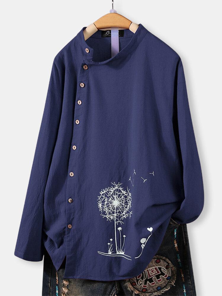 Flower Print Side Button Crew Neck Plus Size T-Shirt