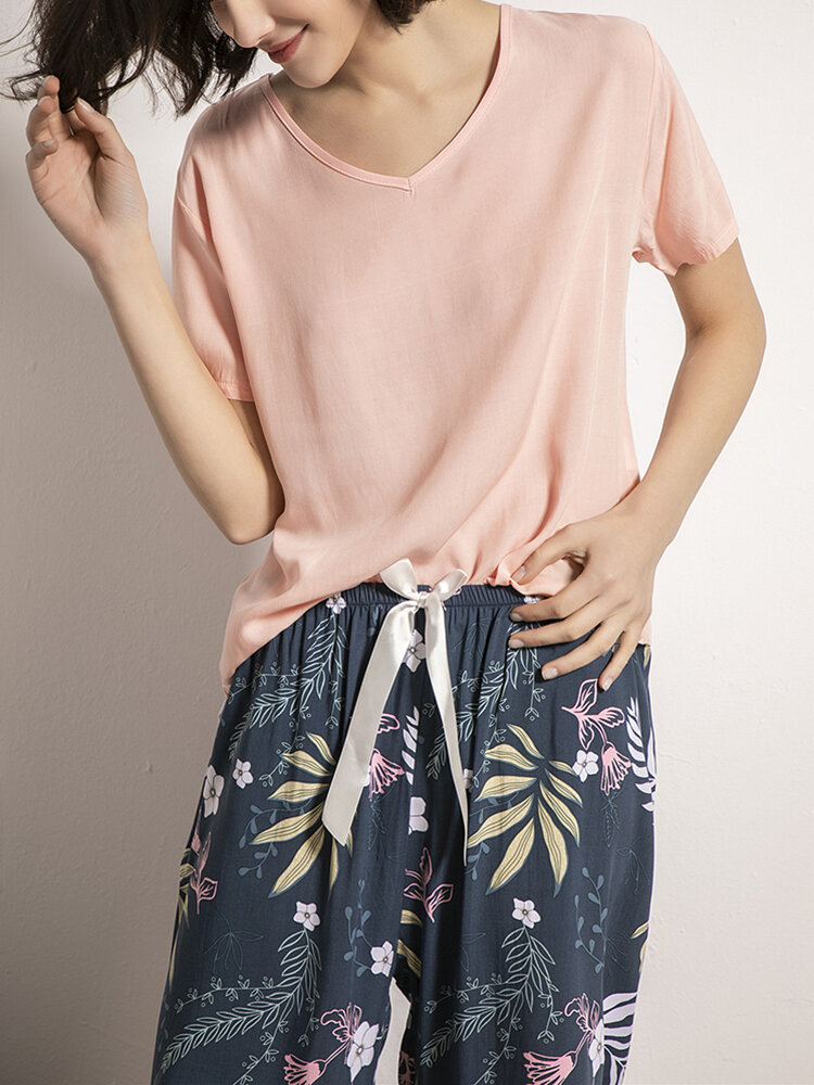 Women V-Neck Short Sleeve Floral Printed Pants Comfy Two Pieces Sleepwear