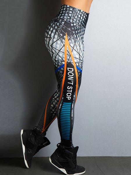 Milanoo Women Gym Leggings High Waist Polka Dot Skinny Yoga Leggings