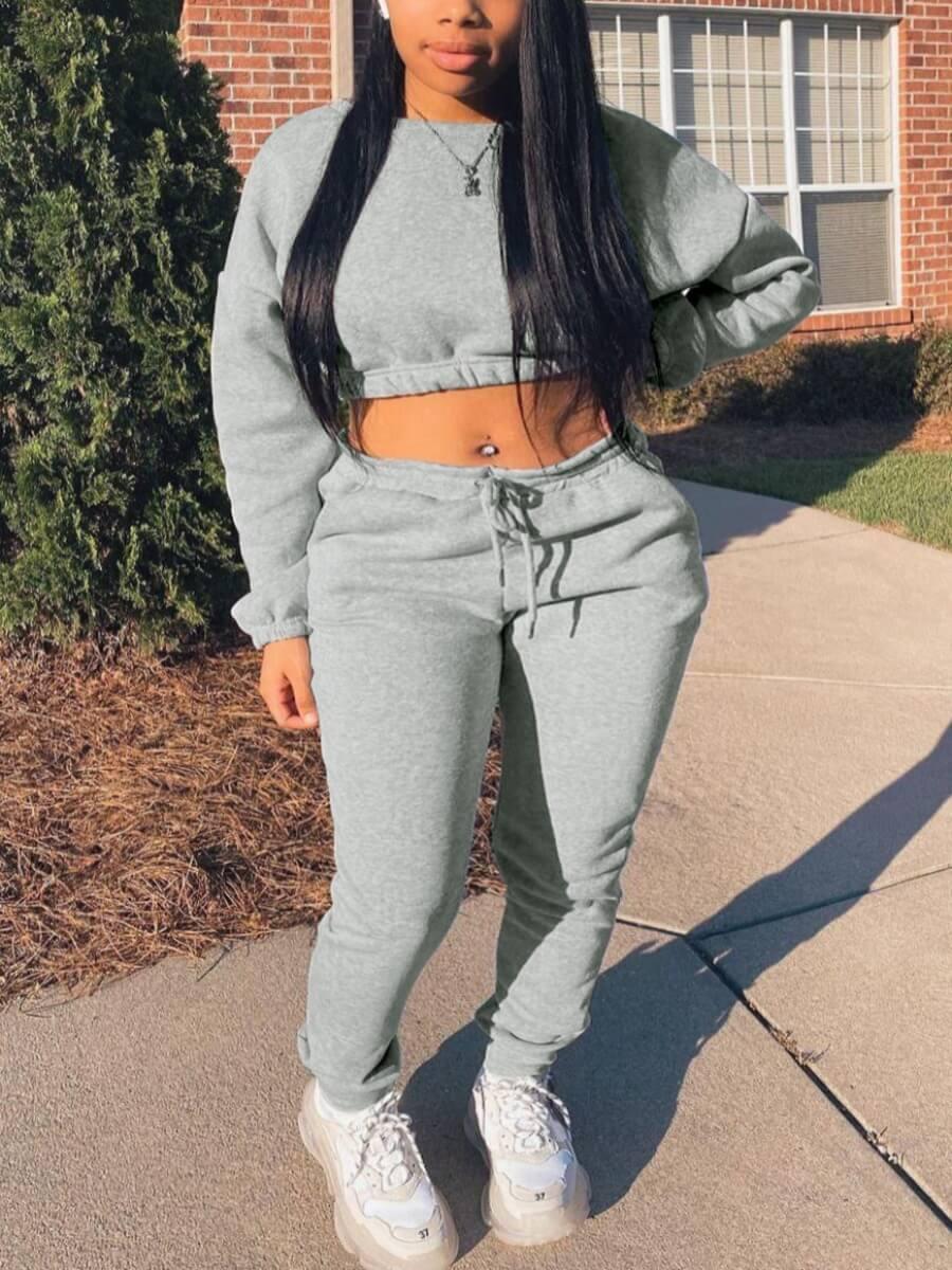 LW Lovely Sportswear Drawstring Grey Two Piece Pants Set