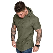 Men Patched Curved Hem Hooded Tee