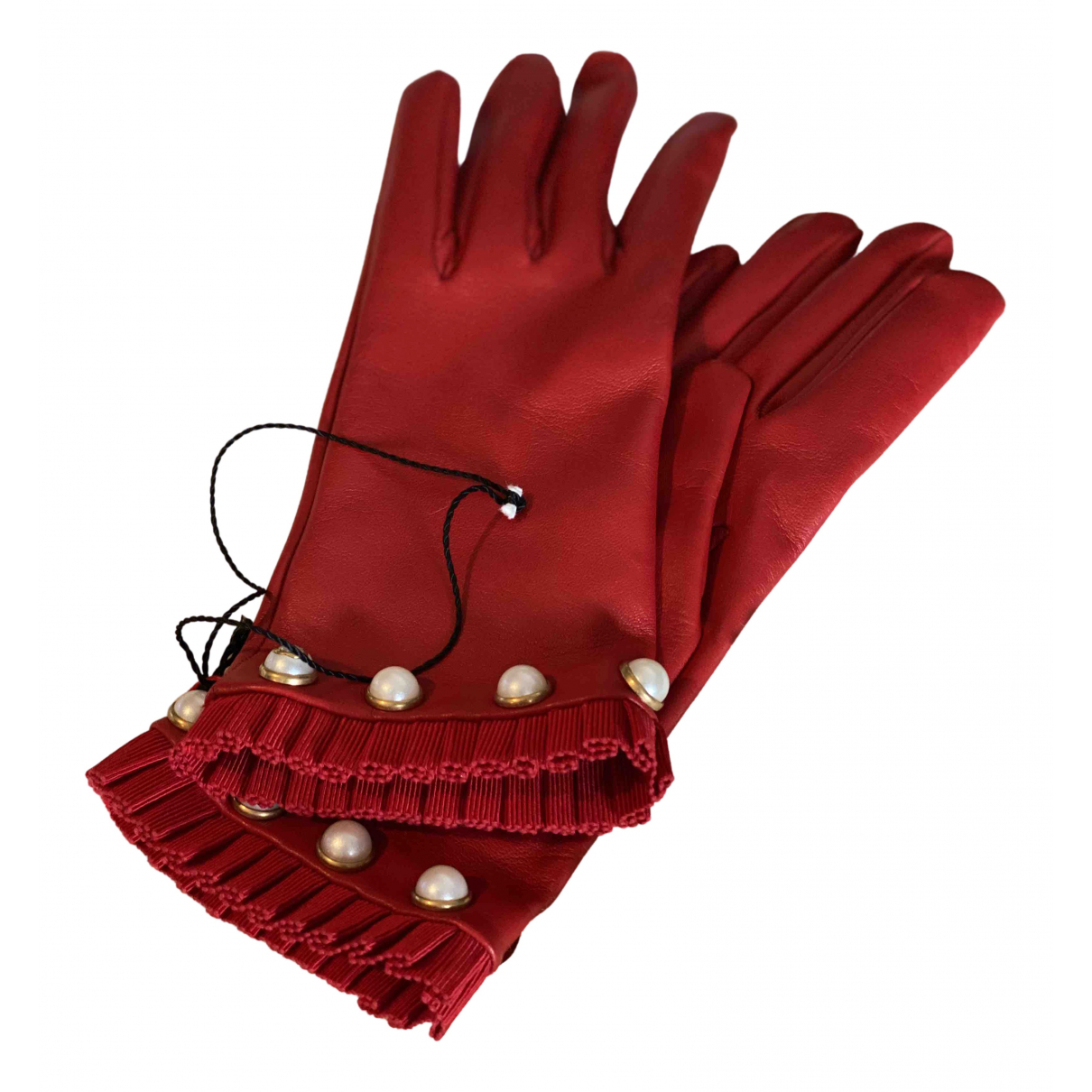 Gucci \N Red Leather Gloves for Women 8 Inches