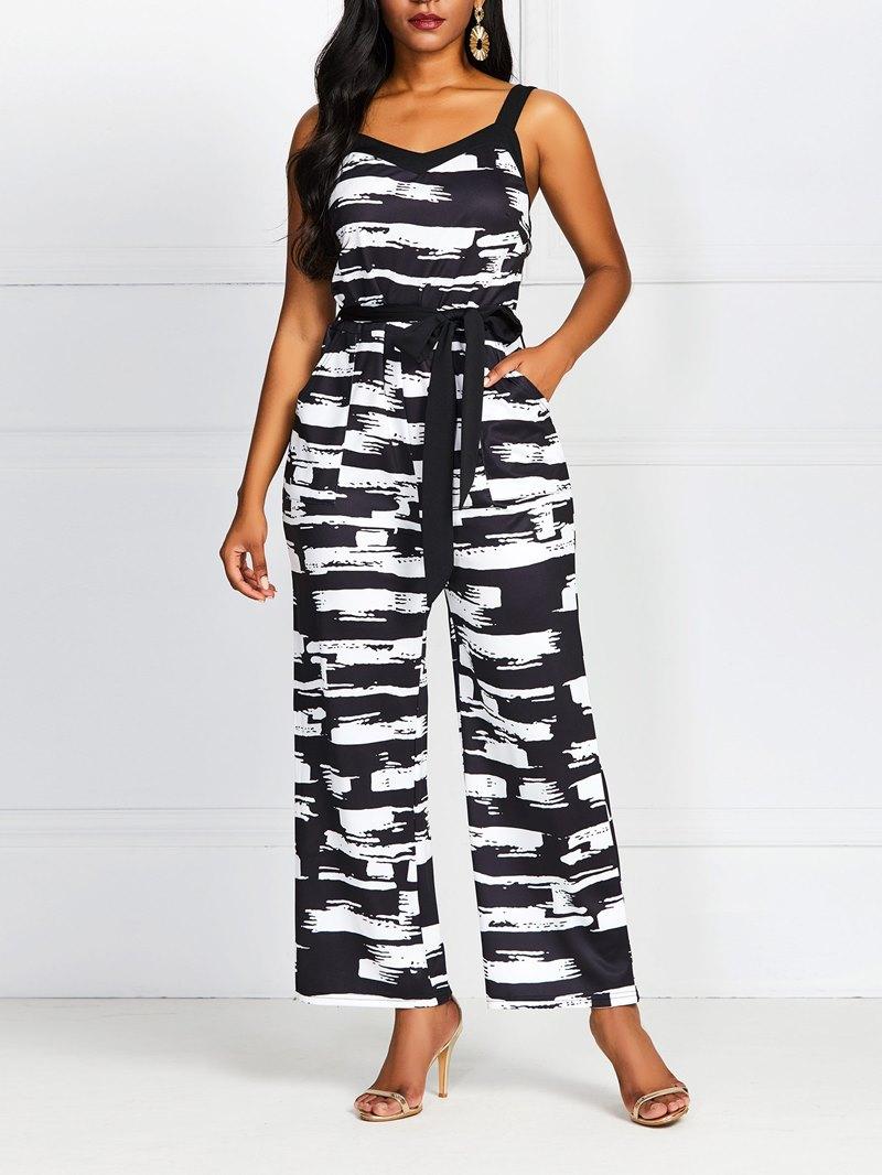 Ericdress Color Block Casual Print High Waist Loose Jumpsuit