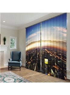 Amazing and Grand City Scenery Polyester 2 Pieces Living Room Custom 3D Curtains