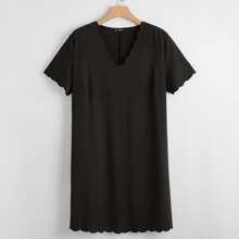 Plus Scallop Trim Solid Dress