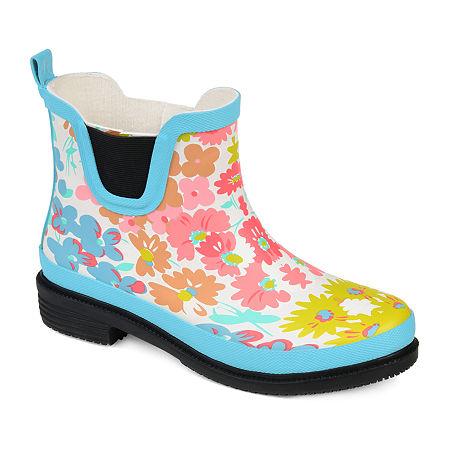 Journee Collection Womens Tekoa Rain Boots Block Heel, 6 1/2 Medium, Blue