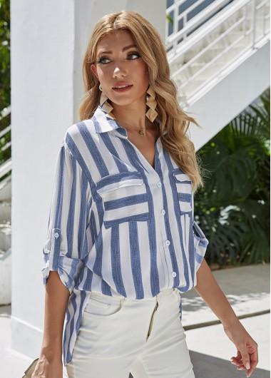 Turndown Collar Button Up Stripe Print Blouse - L