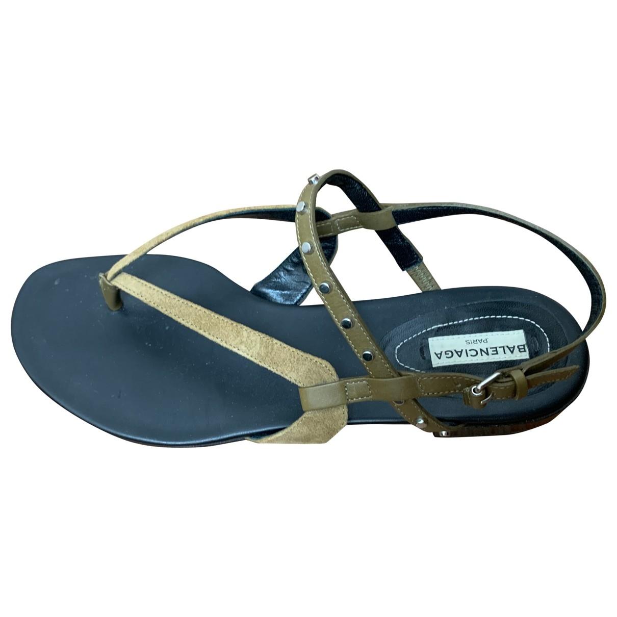Balenciaga \N Green Leather Sandals for Women 39 IT