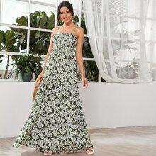 Shirred Bodice Floral Maxi Dress