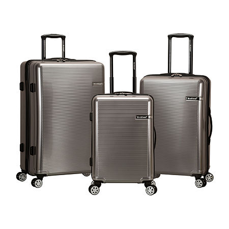 Rockland Polycarbonate Abs Upright 3-pc. Hardside Lightweight Luggage Set, One Size , Silver
