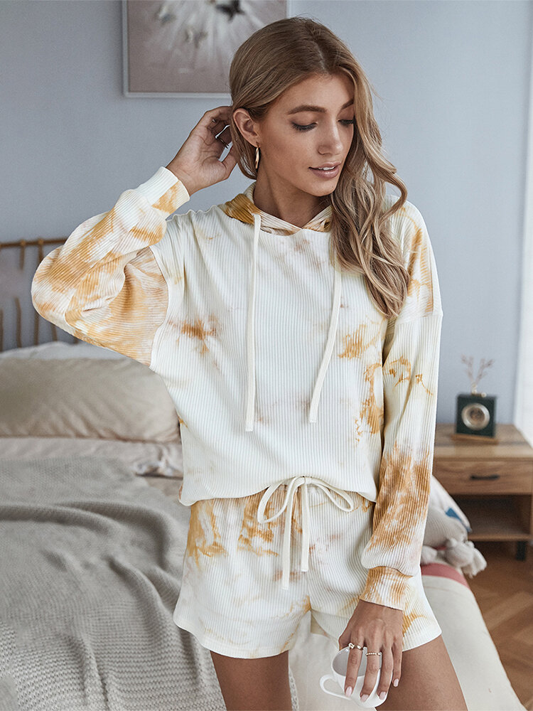 Tie-dyed Print Hooded Long Sleeves Tops+Shorts Casual Suits
