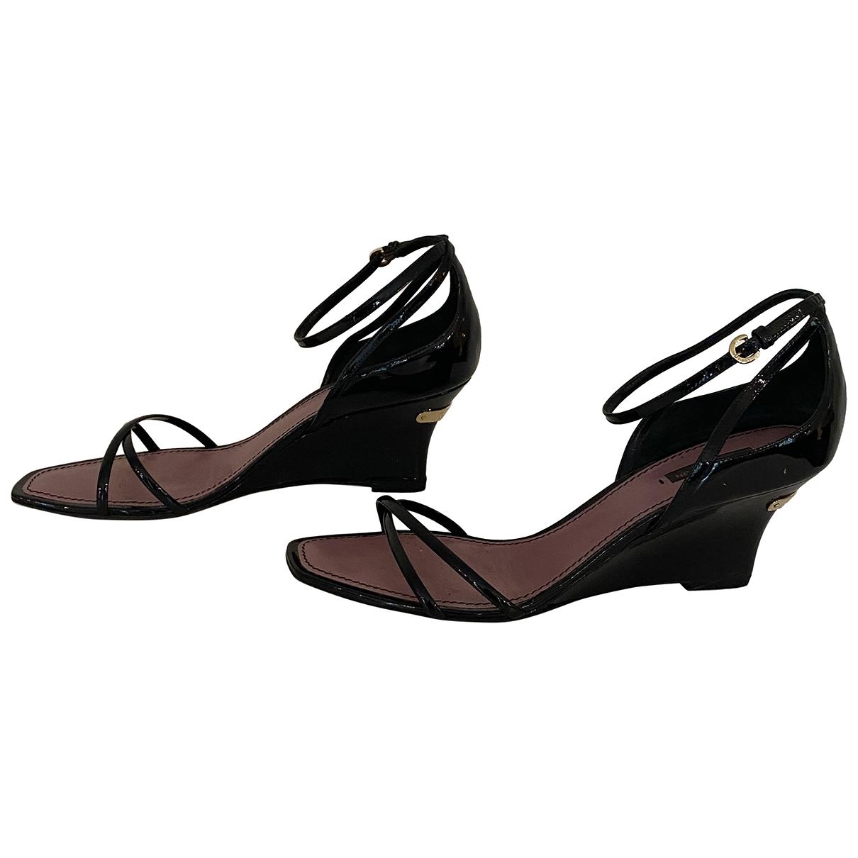 Louis Vuitton \N Black Patent leather Sandals for Women 40 EU