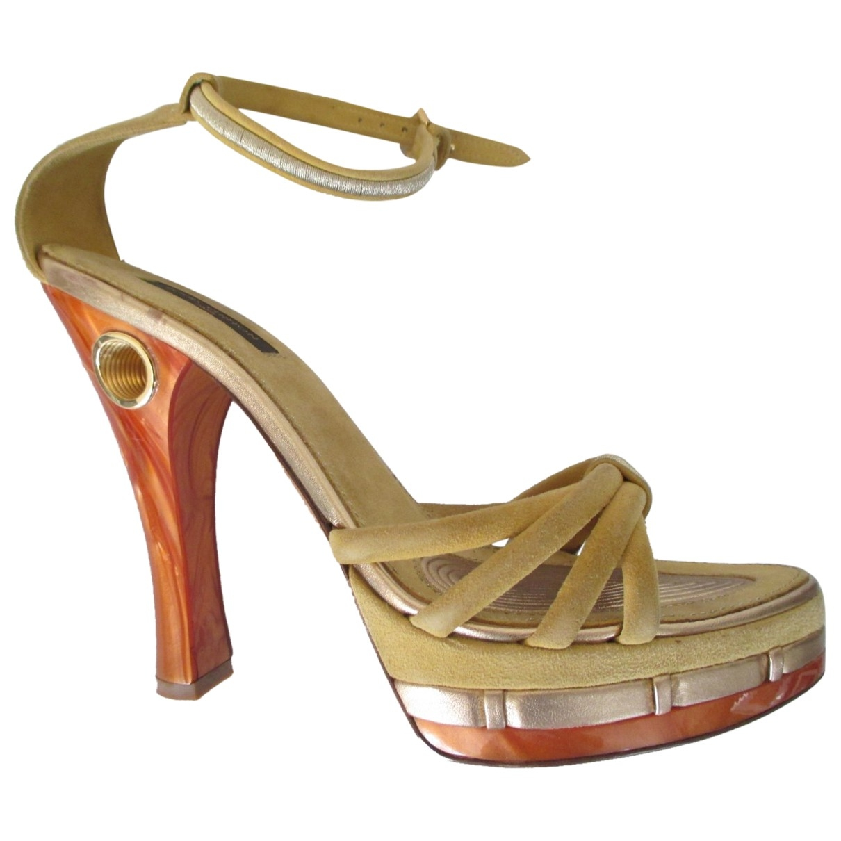 Louis Vuitton \N Orange Suede Sandals for Women 38 EU