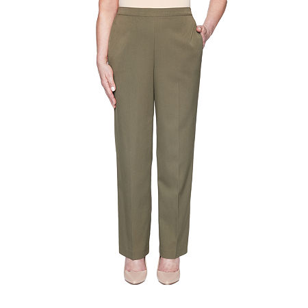 Alfred Dunner Colorado Springs Womens Straight Pull-On Pants, 16 Short , Green