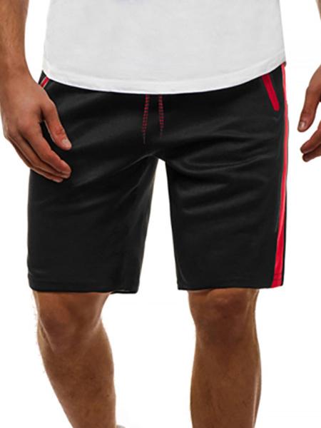 Milanoo Men Shorts Color Block Drawstring Waist Summer Cycling Black Beach Bottoms