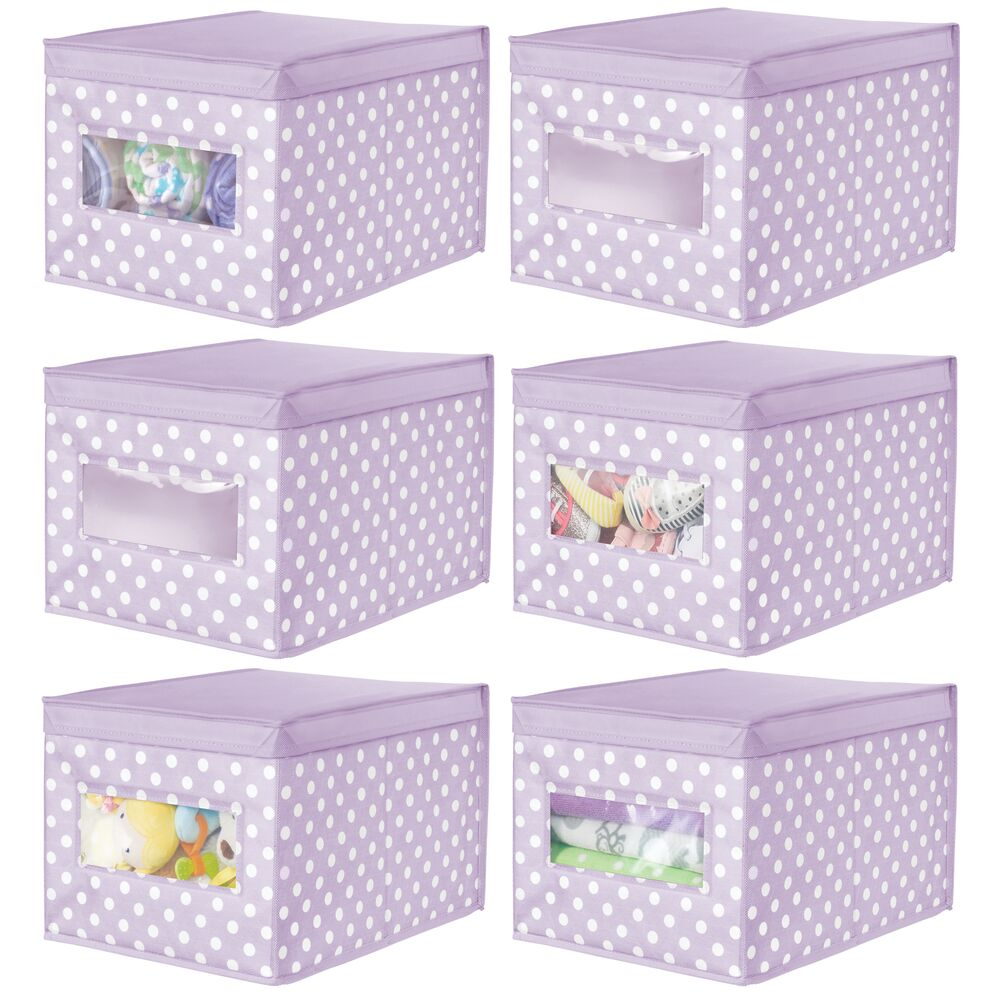 Fabric Storage Bin for Baby + Kids Closet in Light Purple/White, 11.25