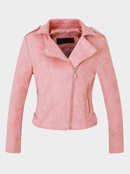 Milanoo Women Motorcycle Jacket Suede Leather Turndown Collar Long Sleeve Short Jackets