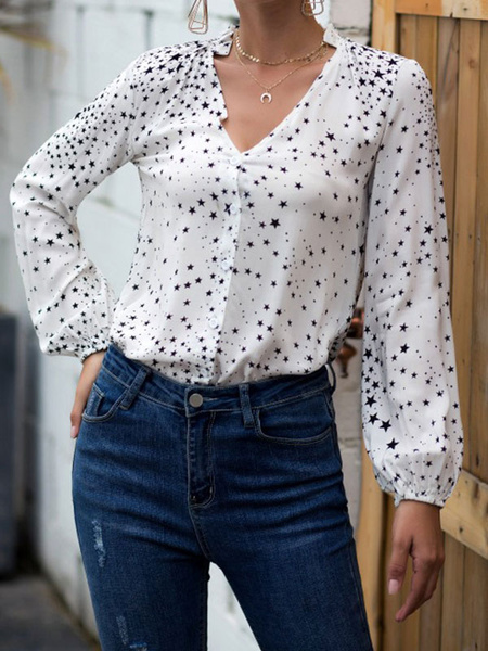 Milanoo Women White Blouse V Neck Long Sleeve Polka Dot Casual Shirt