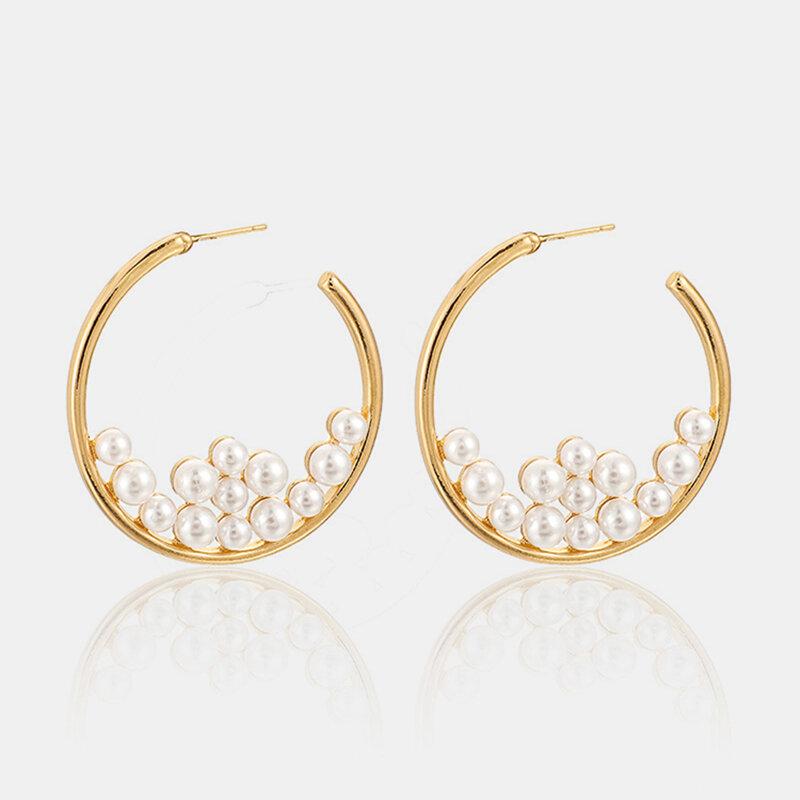 Trendy Pearl Large Circle Exaggerated Earrings Temperament Irregular Pearl Stud Earrings