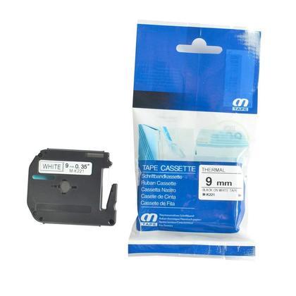 Compatible Brother MK221 P-Touch M series tape, 9mm (0.35''), noir sur blanc, - 10/paquet