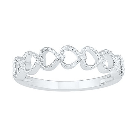 4MM 10K White Gold Heart Band, 9 , No Color Family