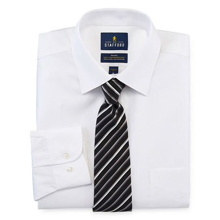 Stafford Mens Point Collar Long Sleeve Stretch Box Shirt + Tie Set Big And Tall, 19 36-37, White