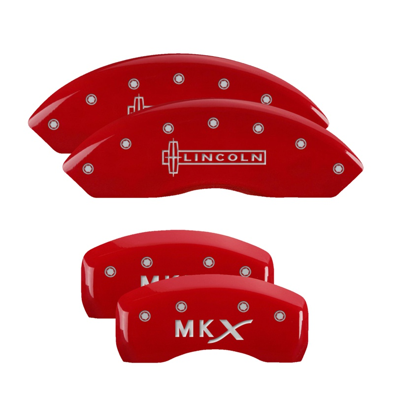 MGP Caliper Covers 36006SLCXRD Set of 4: Red finish, Silver Lincoln / MKX Lincoln MKX 2007-2010