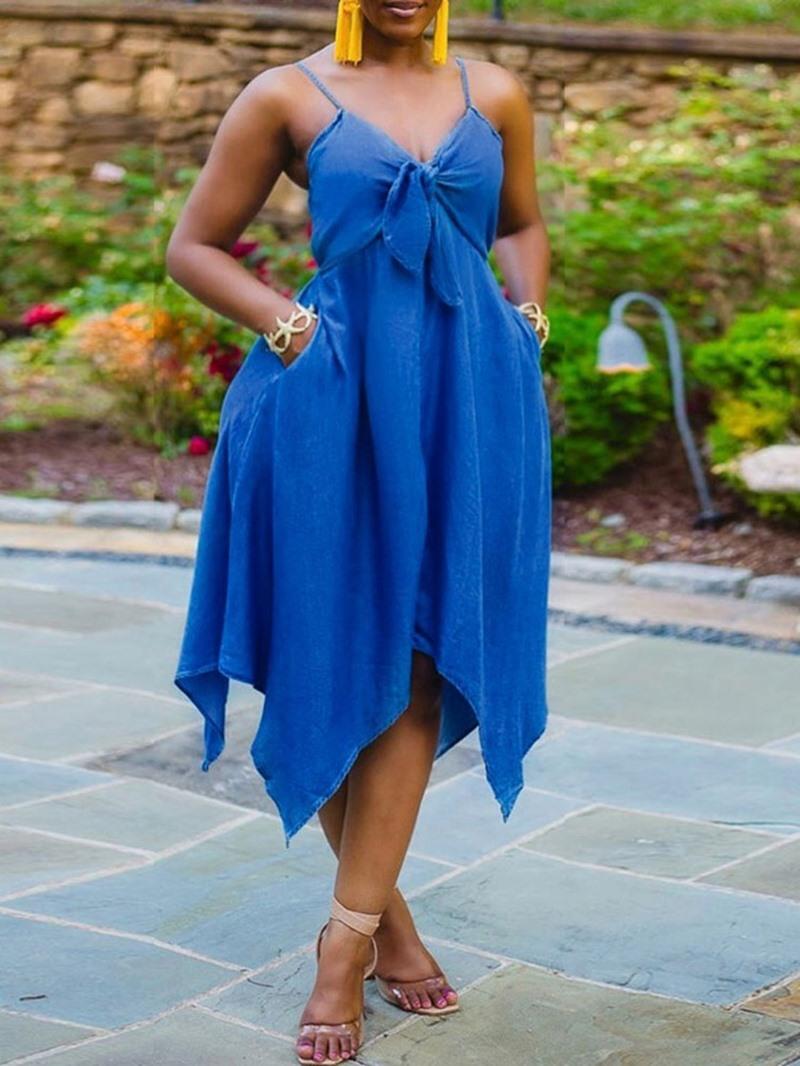 Ericdress Mid-Calf V-Neck Bowknot Fashion Plain Dress