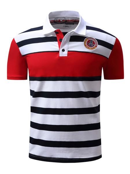 Milanoo Men\'s Regular Fit Pique Striped Polo With Emblem And Tipped Collar