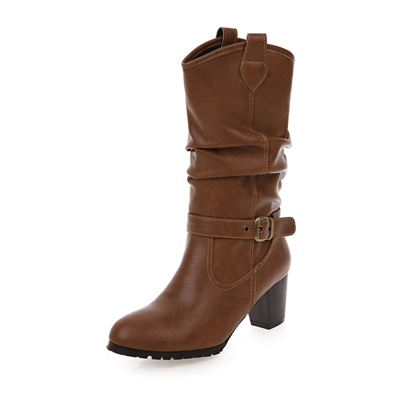 Ericdress Plain Chunky Heel Womens' Calf High Boots