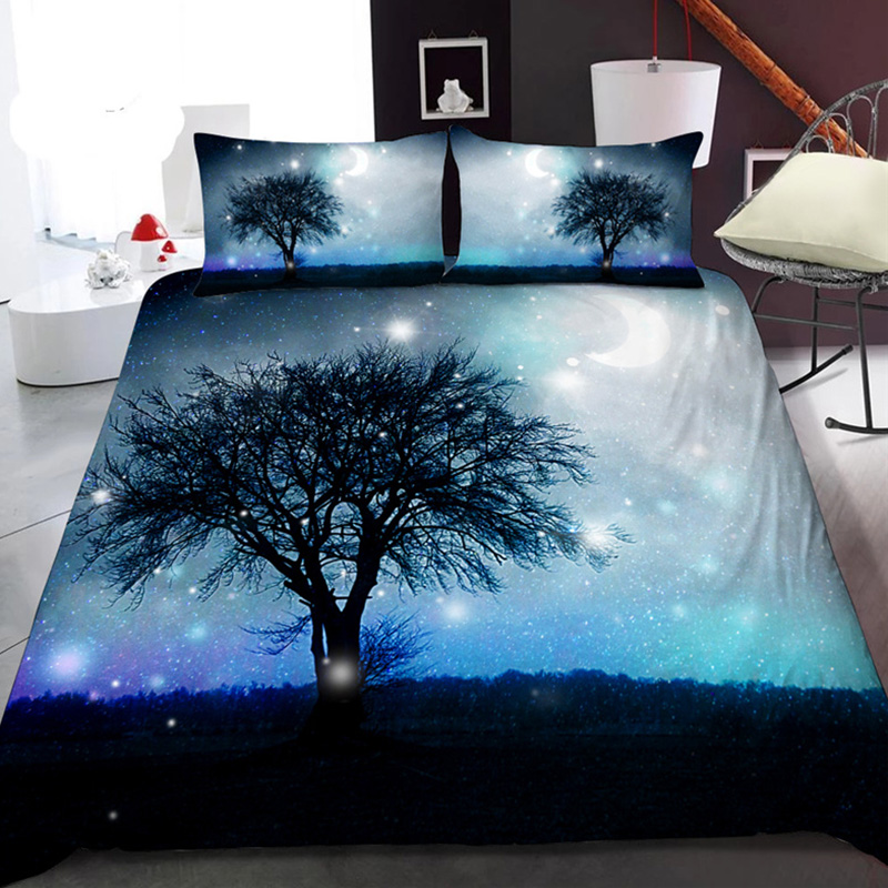 Black Branch and Starry Sky 3D Printed Polyester 1-Piece Warm Quilt