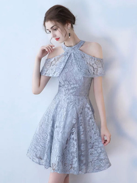 Milanoo Lace Cocktail Dress 2020 Halter Short Sleeve Knee Length Social Homecoming Party Dresses