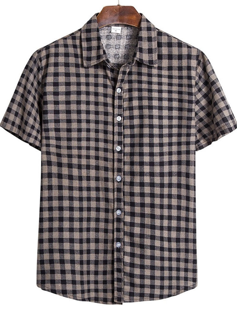 Ericdress Lapel Plaid Casual Single-Breasted Men's Slim Shirt