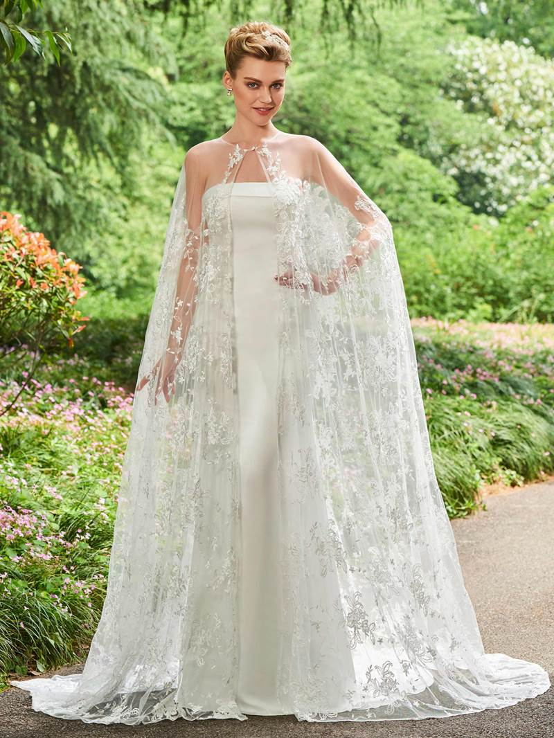 Ericdress Strapless Mermaid Wedding Dress with Lace Cape