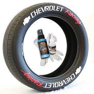 Tire Stickers CHVYRACING-1416-125-8-W Permanent Raised Rubber Lettering 'Chevrolet Racing' Logo - 8 of each -   14