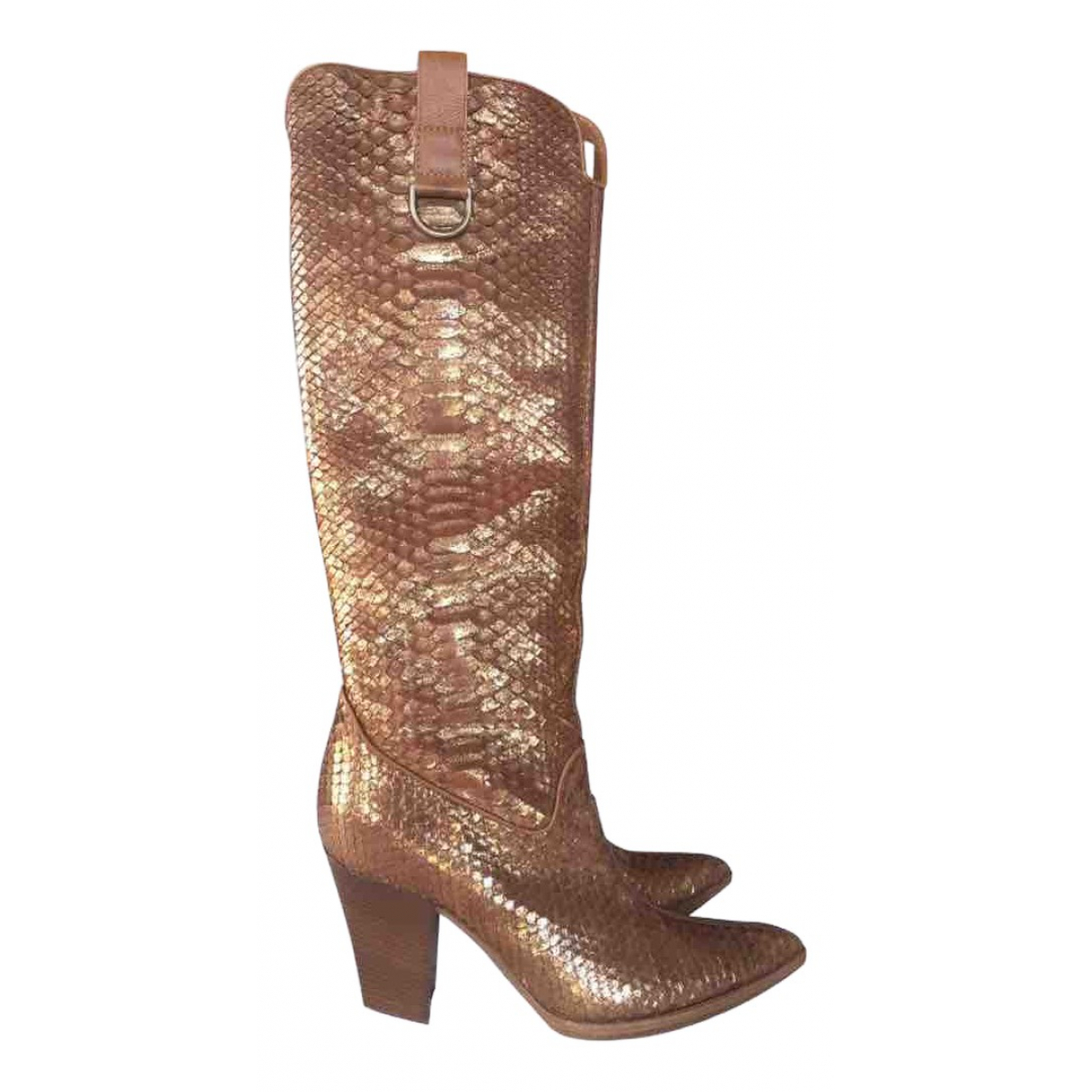 Casadei \N Gold Leather Boots for Women 37.5 IT